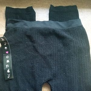 Black Stretchy Leggings Ribbed Texture